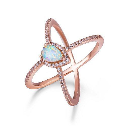 OPALBEST Mothers Day Gift Ideas Criss Cross Rose Gold Plated Ring with White Pear Shaped Opal for Women and Girls