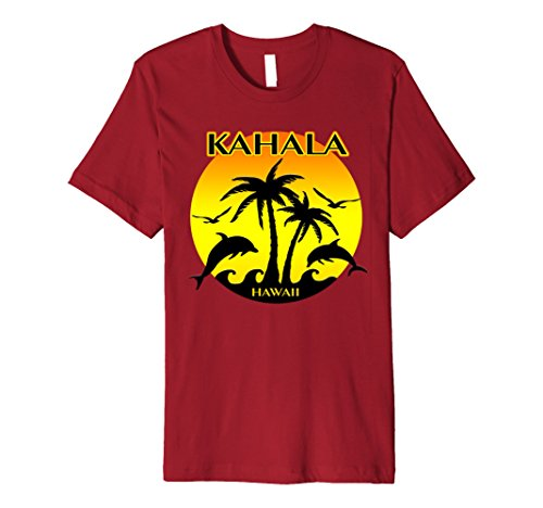 Mens Kahala, Hawaii Dolphins, Palm Trees, Sunset T Shirt 3XL - Hi Kahala