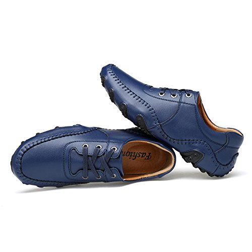 Moccasins Loafers Leather Boat Car Driving Men's Blue ChicWind Comfy Shoes WnBATnc