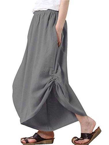 (Mordenmiss Women's New Elastic Waist Wide Leg Pants with Pockets Style 1 M Gray)