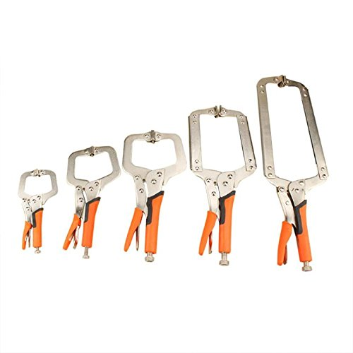 5 pieces Multi-function Steel C Type Clip Vise Grip Locking Plier Woodworking Clamps Clips 6'', 9'', 11'', 14'', 18''inches Face Clamp