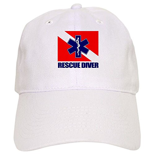 Hat Diver (CafePress - Rescue Diver (EMT) Baseball - Baseball Cap with Adjustable Closure, Unique Printed Baseball Hat White)