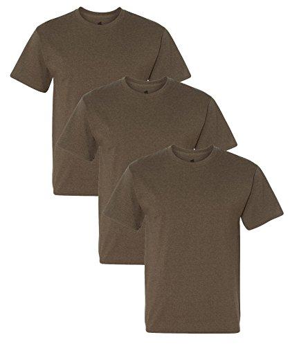 Adult Brown Tee T-shirt - Hanes Adult ComfortBlend EcoSmart T-Shirt, Heather Brown, L ( Pack of 3 )