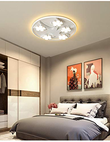 (DECORATZ Modern Round Acrylic Lampshade Ceiling Lamp, LED Nordic Style Three-Color Light (White+Warm+Neutral) Bedroom Study Restaurant Lighting Fixture-68CM82W)