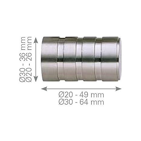 Barre di tenda–Terminale 3righe acciaio inox Diametro 20 mm. acciaio INOX
