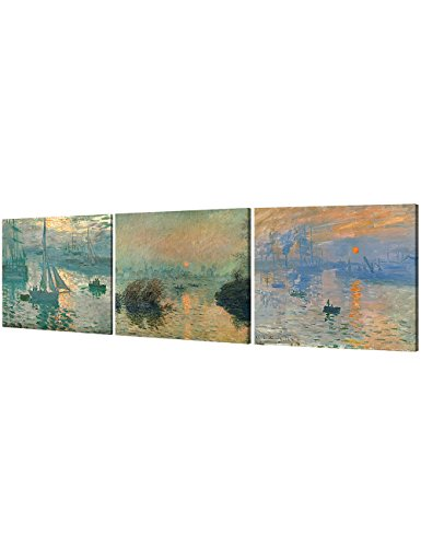 DECORARTS Impression Sunrise Series(Triptych), Claude Monet Art Reproduction. Giclee Canvas Prints Wall Art for Home Decor 24x30, (Impression Sunrise Blue Poster)