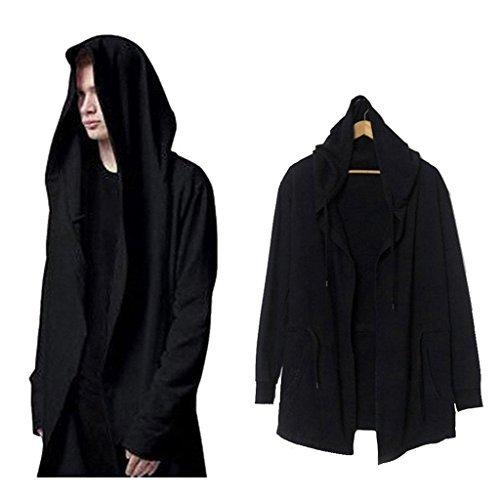Xiucos Men's Long Cloak Cape Shawl Hooded Windbreaker Trench Outwear Coat Black, XXX-Large