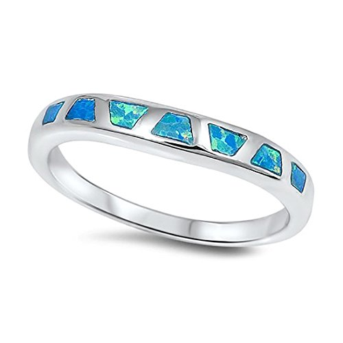 - Inlay Ladies Wedding Engagement Anniversary Band Ring Lab Created Blue Opal 925 Sterling Silver