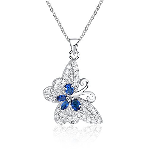 Sterling Silver Simulated Diamond Butterfly Pendant Necklace Set (Diamond Set Butterfly Pendant)