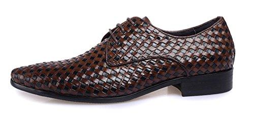 los s HYLM Grade Vestidos de Vestido 's novia zapatos brown Men de negocio de de zapatos hasta tejer zapatos hombres cuero tejido High Men' wU4wfvarqx
