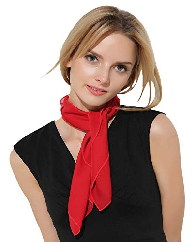 (Red Neck Scarf Mime Costume French 50s Accessories for Women Chiffon Scarf)