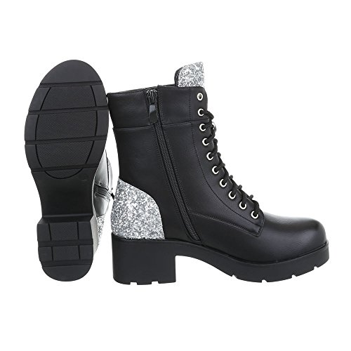 Ital-Design Women's Boots Block Heel Lace-Up Ankle Boots Black Silver 0-179 9BpBDqYMsn