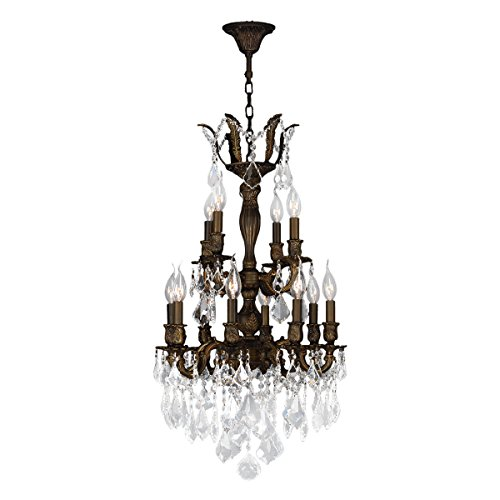 Worldwide Lighting Versailles Collection 12 Light Flemish Brass Finish and Clear Crystal Chandelier 19