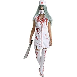 Womens Zombie Nurse Costume Adult Bloody Sexy Horror Quality Dress Up for Women