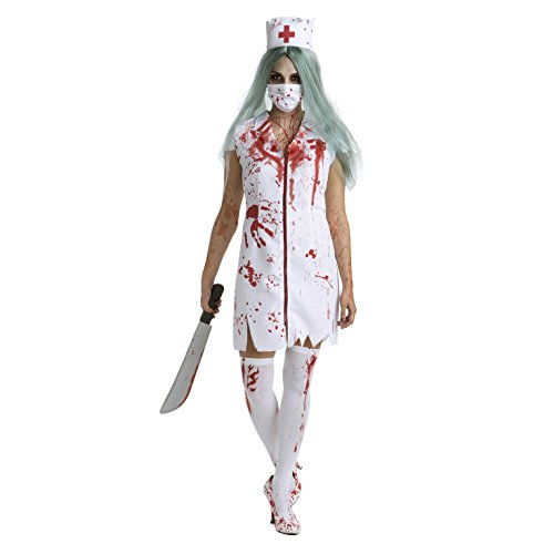Womens Zombie Nurse Costume Adult Bloody Sexy Horror Quality Dress Up for Women]()