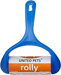 Petego United Pets Rolly Roller Brush Pet Hair Remover, Bright Blue