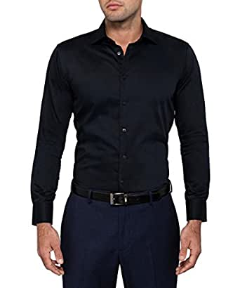 Calvin Klein Men's Slim Fit Solid Shirt, Black, 37cm Neck