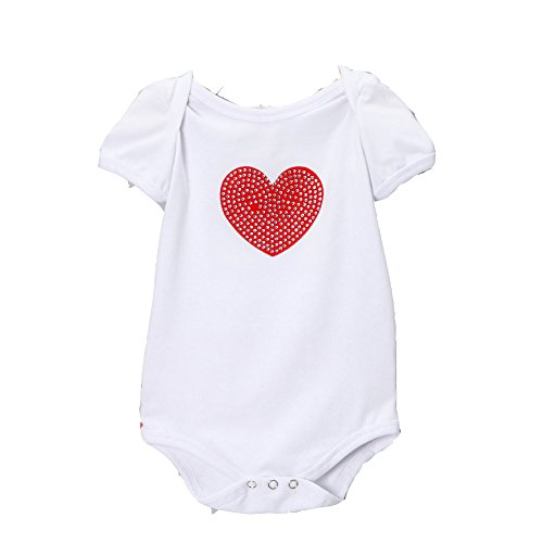 Share n' Smiles Baby Girl White & Red Heart Bodysuit (Small (6-9 Months), White/Red)