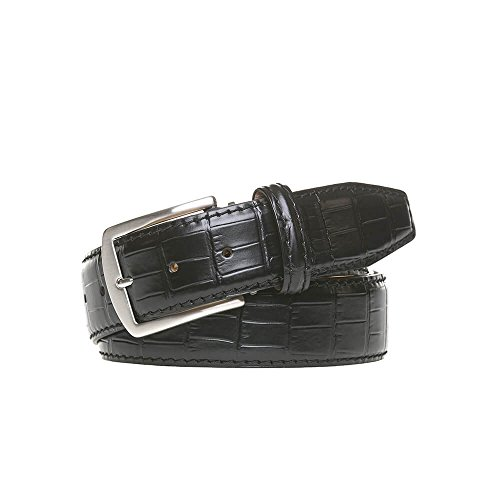 Black Italian Mock Gator Leather Belt by Roger Ximenez: Bespoke Maker of Fine Leather Goods
