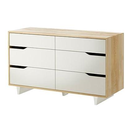 IKEA MANDAL - Cómoda de 6 cajones, abedul, blanco - 139x79 ...
