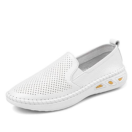 Primavera Le Fu, Zapatos De Suela Gruesa,Zapatos De Cuero Blanco De Jurchen,Zapatos Del Ocio Coreano Del,Zapatos Finos De Talón Plano,Los Zapatos De Las Mujeres B