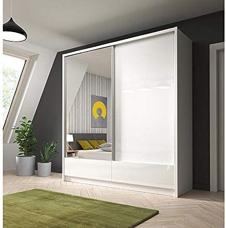 ARIA I - Armario con 2 puertas correderas con cajones en puertas mate y alto brillo (200 cm de ancho), color blanco: Amazon.es: Hogar