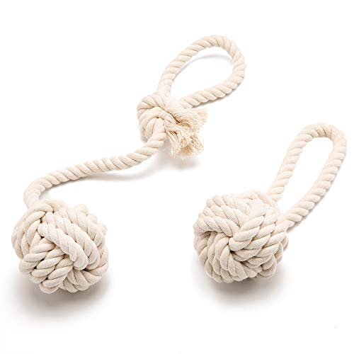 Yangbaga Dog Chew Toys Rope, Dye Free Additive Free 100% Natural Cotton, Dental Teething Toys for Small to Medium Dogs, Thick Knot Rope and TUG of WAR Ball - Large Rope Knot Ball