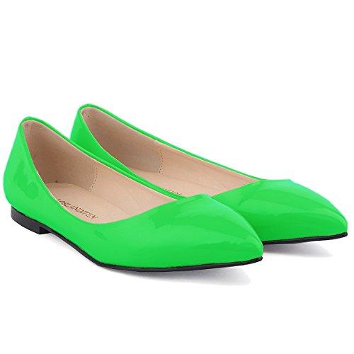 Loslandifen Kvinna Pu Lackläder Hovbalett Platta Gröna