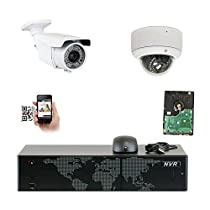 5MP (2592x1920p) 8 Channel 1920P NVR Network PoE IP Security Camera System - HD 1920p 2.8~12mm Varifocal Zoom (1) Bullet and (1) Dome IP Camera - 5 Megapixel (3,000,000 more pixels than 1080P)