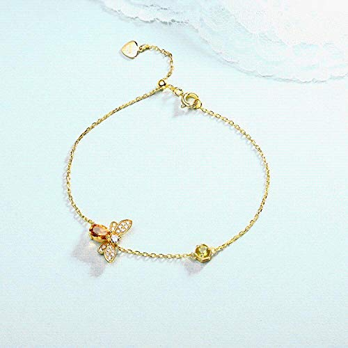 Women's Bracelet S925 Sterling Silver Cute Bee Citrine Handmade Insect Niche Design Length -