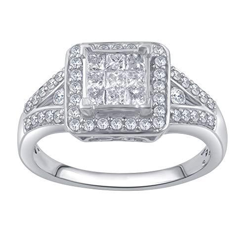 La4ve Diamonds 3/4 Carat Princess and Round Cut Diamond Engagement Ring In 10K White Gold (Color I-J) (Clarity I2-I3)