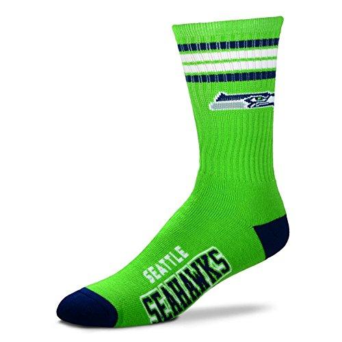 NFL 4 Stripe Deuce Socks - Men's Large (fits 10-13) (Seattle Seahawks)
