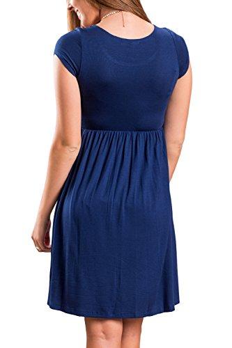 La Mujer Es Elegante Vestido De Fiesta De Verano Manga Corta Swing Suelto Blue