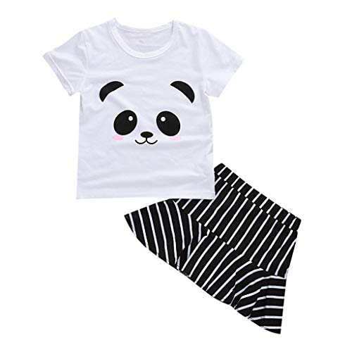 Toddler Baby Girl Print Skirts Clothes Set - Cute Panda Graphic Crew Neck Short Sleeve Tops + Stripe A-Line Dress - 2PC Casual Party Daily Outfits (6-12 Months, White) ()