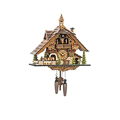 Image of Quartz Cuckoo Clock Black Forest House with Moving Train, with Music EN 48110 QMT Home and Kitchen