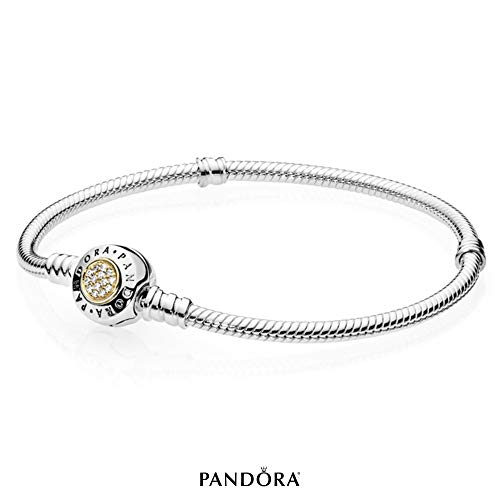 PANDORA - Moments Logo Charm Bracelet in Sterling Silver and 14K Yellow Gold with Clear Cubic Zirconia, 7.5 IN / 19 CM (Bracelets Charm Gold)