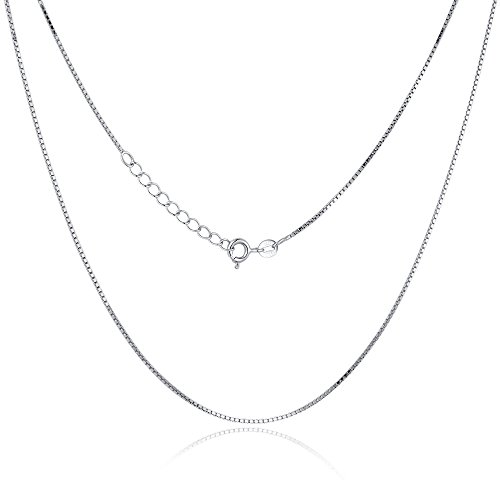Sterling Silver Italian Made Box - Classic Box Chain,Sterling Silver 1mm Box Chain,Made in Italian Crafted Fine Chain Necklace,Sturdy and Lightweight Silver Chain Necklace with Lobster Claw Clasp,Simple Design Box Chain Necklace 18''