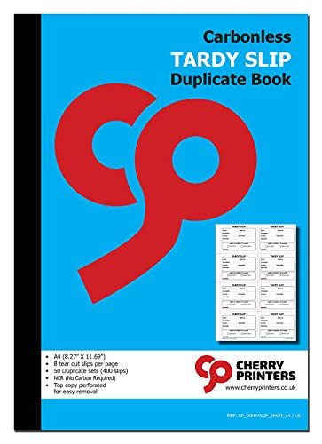 Cherry Easy Removal Tardy Slip Book with Carbonless Copies / 400 (3.89 x 2.92 Inches) Slips Per Book ()