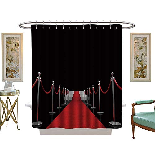 luvoluxhome Shower Curtains Sets Bathroom d of Classic red Carpet Bathroom Decor Set with Hooks W72 x L96]()