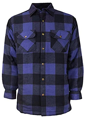 Canyon Guide Outfitters Men's Plaid Flannel Snap Front Work Shirt Jacket (Large, Blue/Black) - Canyon Guide