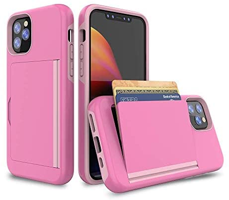 Phone Case Flip Card Holder Suitable Card Wallet Case for iPhone 12 Pro Max 6.7 Inch 2021 with Dual Layer Hybrid Shock Proof TPU (Pink)