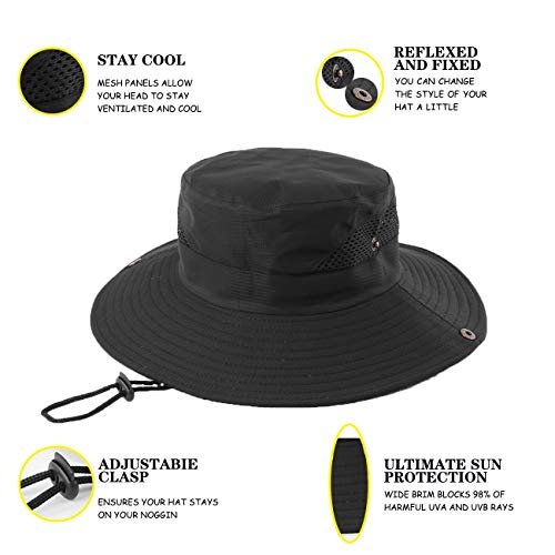 FENDISI Boonie Fishing Sun Hats Men Hiking Safari Wide Brim Outdoor Women Hunting Tilley Bucket Hat Men's Summer Protection Cap Beach Shelta Shade Waterproof Breathable Packable Golf