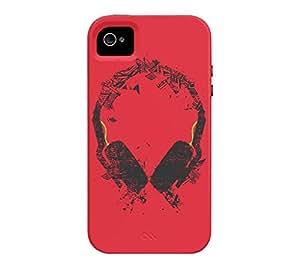 Art Headphones V2 iPhone 4/4s Alizarin crimson Tough Phone Case