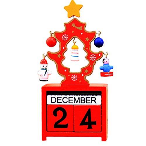Kongqiabona Único Navidad Adviento Calendario Decoraciones para el Hogar Adornos de Calendario de Madera Artificial...