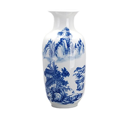 - Dahlia Chinese Blue and White Porcelain Heavenly Mountain Tall Flower Vase, 15 Inches, Rouleau Vase