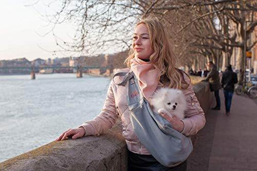 DaRa Pro Pet Sling Carrier for Small Dog, Puppy Bag, Love, up to 12 +lb, Black, Grey, Adjustable, Hands Free, Comfortable, ecofriendly, Zipped Pocket, Travel and Walk with a Style - Carrier Puppy Love Pet