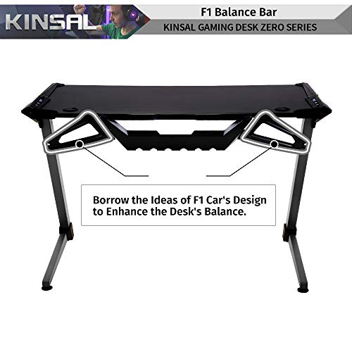Kinsal Z-Shaped Gaming Desk Computer Desk Table with Fighting RGB LED Ambience Lighting and Large Size Mousepad, Racing Table E-Sports Durable Ergonomic Comfortable PC Desk (Grey) by Kinsal (Image #2)