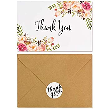 Amazon Com Boho Chic Floral Modern Thank You Note Card 40 Pack