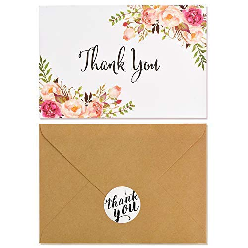 Boho Chic Floral Modern Thank You Note Card,40 Pack Thank you Card Bulk,Blank Note Card with Kraft Paper Envelopes and Stickers-Perfect For Wedding, Baby shower, Business,Bridal Shower,Graduation