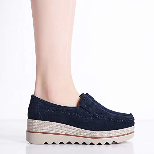 d1e03593d69 HKR-JJY3088shenlan40 Women Platform Slip On Loafers Comfort Suede Moccasins  Wide Low Top Wedge Shoes
